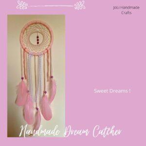 Handmade Bohemian Dreamcatcher Wall Hanging | Pale Pink