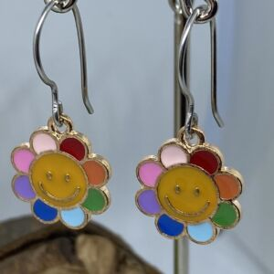 Enamelled Happy Flower Rainbow Earrings with Stainless Steel Ear Wires