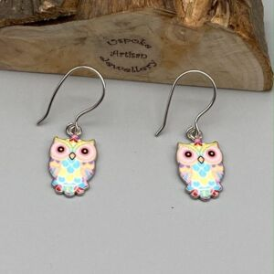 Enamelled Owl Earrings with 304 Stainless Steel Ear Wires