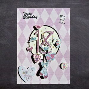 Cottage Cards - Handmade 18th Birthday Card - Pink theme - 3D decoupage