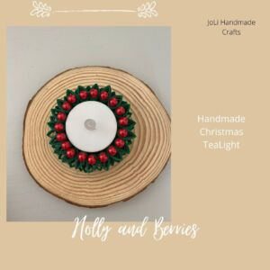 Christmas Tea Light Holder | Holly and Berries
