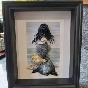 3D Wall Art | Handmade Framed Clay Mermaid - Siren II
