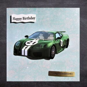 Cottage Cards - Handmade 21st Birthday Card - Green racing car - 3D decoupage