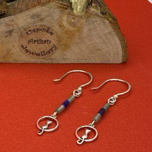 Handcrafted 925 Sterling Silver Aventurine & Lapis Lazuli Cat Earrings