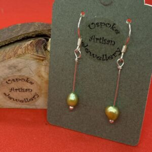 Handcrafted Lime Green Freshwater Pearl 925 Sterling Silver Drop Earrings