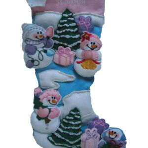 Personalised felt stocking embroidered with 3D snowmen