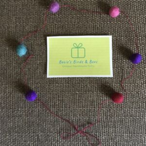 Mixed purples & plum felt mini Pom Pom garland