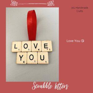 Scrabble Art | Love You | Handmade Gift