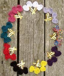 Crocheted Bow Hair Clips