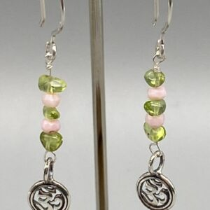 925 Sterling Silver Om Spiritual Drop Peridot & Pink Opal Earrings