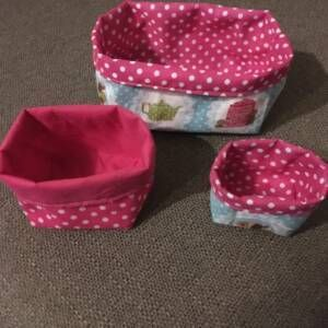 Tea & biscuits fabric storage caddies x3