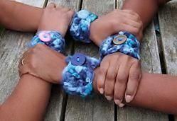 Blue Chunky Yarn Crocheted Cuff