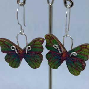 ♻️ Wooden Pink & Green Butterfly 925 Eco sterling silver Earrings