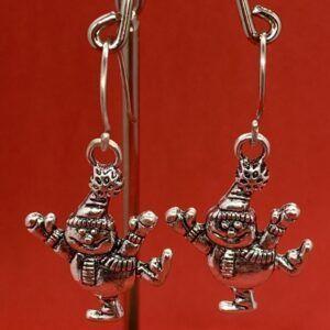 Christmas Fun Snowman Earrings 925 Sterling Silver Ear wires