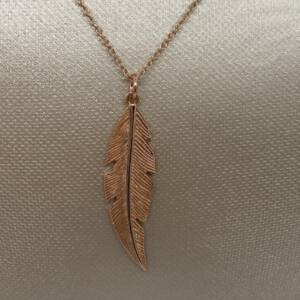 """20"""" Rose Gold Plated 925 Sterling Silver Feather Necklace"""