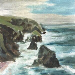 The Cornwall Collection hand painted canvas art print Bedruthen Steps