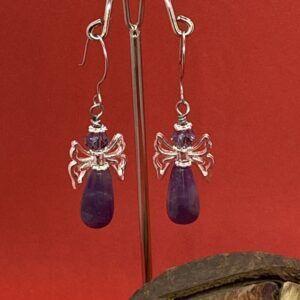 Christmas Spirit Angel Amethyst & Crystal Gemstone Stainless Steel Earrings