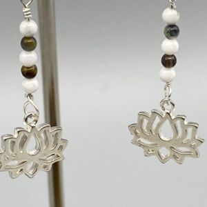 925 Sterling Silver Lotus Spiritual Magnesite & Tigers Eye Gemstone Earrings