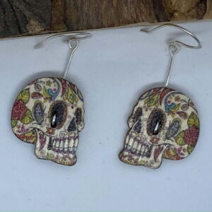 ♻️ Wooden Day of the dead sugar skull 925 Eco sterling silver Earrings side facing