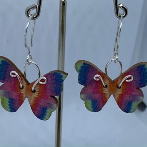 ♻️ Wooden Rainbow Butterfly 925 Eco sterling silver Earrings
