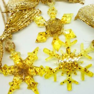 Gold glitter snowflake, star and winter flower set of 3 christmas decorations with Isle of Lewis sand