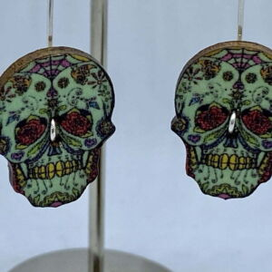 ♻️ Wooden Day of the dead sugar skull 925 Eco sterling silver Earrings