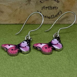 Enamelled Butterfly Earrings with Stainless Steel Ear Wires