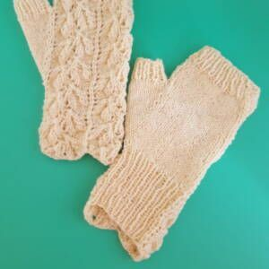 Forsyte mitts - lightweight lacy mitts in natural 4ply Shropshire wool
