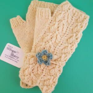 Forsyte fingerless mitts - lightweight gloves knitted with Shropshire wool