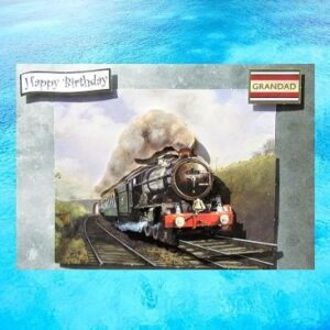 Cottage Cards - Handmade Birthday Card - Vintage Steam Train - Grandad - 3D decoupage