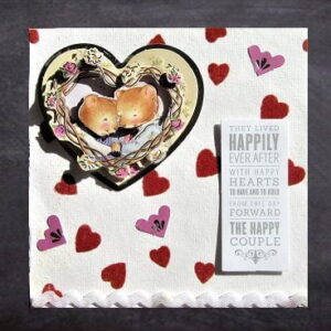 Cottage Cards - Handmade Wedding Card - mouse couple in heart shaped frame - Happily Ever After - 3D decoupage