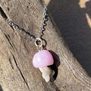 Handmade Rose Quartz Polymer Clay Jellyfish Pendant Necklace