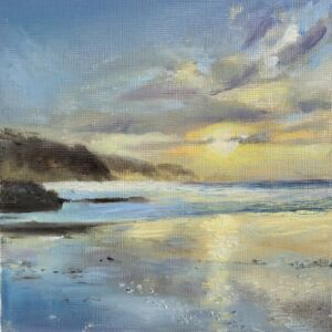 Framed print of oil Painting of sunset at Perranporth beach