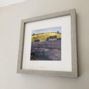 Framed print on wall Snowshill lavender fields painting