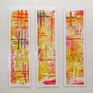Mixed Media Bookmarks - Warm Colours (Geometric)