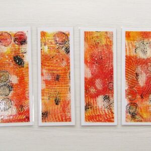 Mixed Media Bookmarks - Warm Colours (Circles)