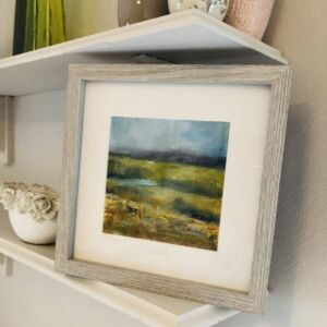 Framed oil painting Misty Malvern View 1 - Here Comes the Sun