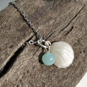 Handmade Pearlescent Cockleshell and Seaglass Pendant Necklace