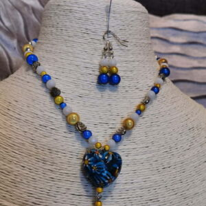 Yellow and blue beaded necklace with earrings