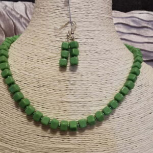Green cubed necklace and earrings