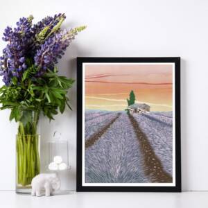 Lavender Field limited edition reduction Reduction Lino print framed