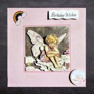 Cottage Cards - Handmade Birthday Card - seated flower fairy - 3D decoupage