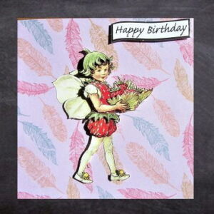 Cottage Cards - Handmade Birthday Card - Strawberry flower fairy - 3D decoupage