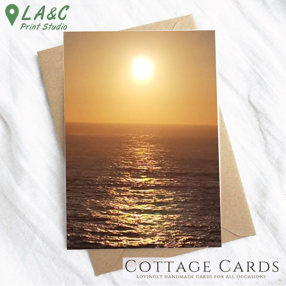 Cottage Cards - Printed Greetings Card - Sunset across the water - Sennen Cove, Cornwall