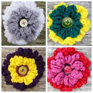 Crochet Double Layer Frilly Brooches