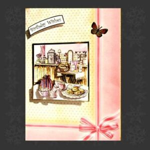 Cottage Cards - Handmade Birthday Card - Vintage kitchen scene - 3D decoupage on an extra large card