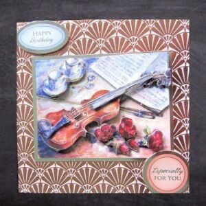 Cottage Cards - Handmade Birthday Card - Violin and Roses - 3D decoupage on a foiled background