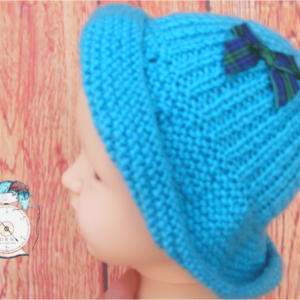 Hand Knitted Blue baby hat 0-3 months