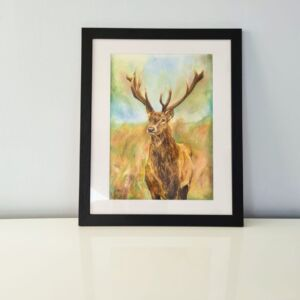 Scottish Stag in Autumn, fine art print, Scottish artwork
