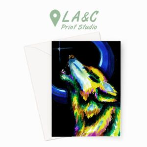 Greetings Card | Wolf Howling at the Moon Original Illustrated Card Design by AJ Designs